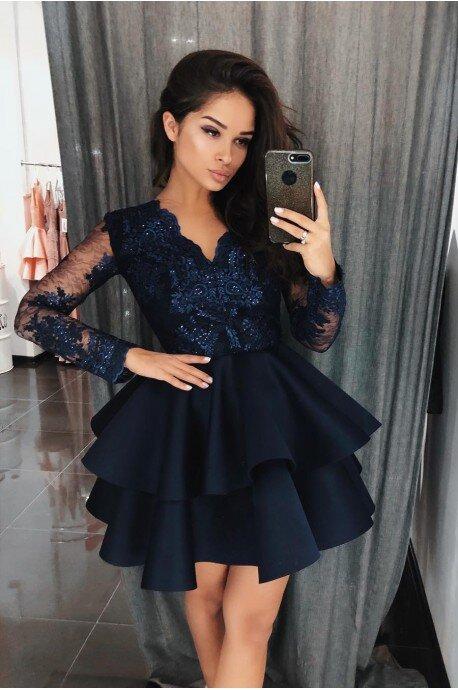 Koronkowa sukienka z piankową spódnicą na wesele Iris - granatowa