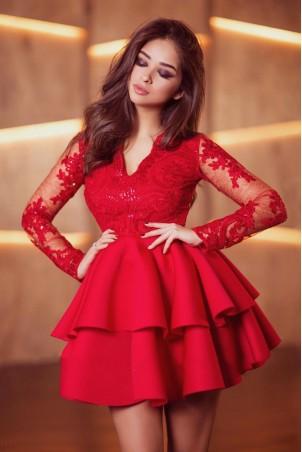 Koronkowa sukienka z piankową spódnicą na wesele Iris - czerwona