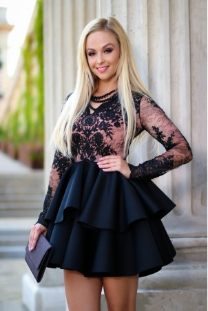 Koronkowa sukienka z piankową spódnicą na wesele Iris - czarna z beżem