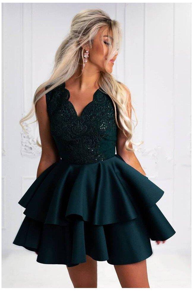 Rozkloszowana sukienka dwie falbany Lisa - butelkowa zieleń