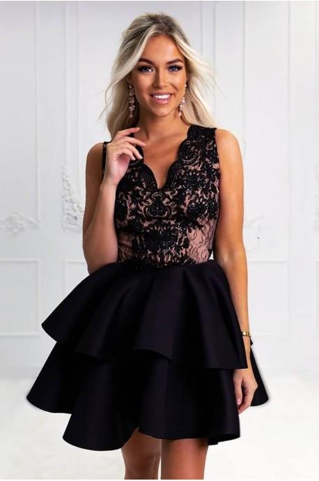 Rozkloszowana sukienka dwie falbany Lisa - czarna z beżem