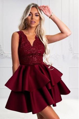 Rozkloszowana sukienka dwie falbany Lisa - bordowa