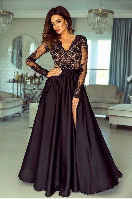 Długa koronkowa sukienka Ophelia - czarna z beżem
