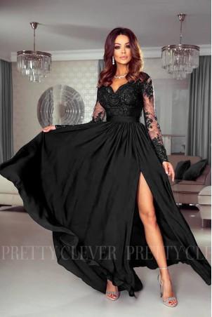 Długa koronkowa sukienka Ophelia - czarna