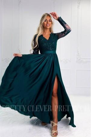 Długa koronkowa sukienka Ophelia - butelkowa zieleń