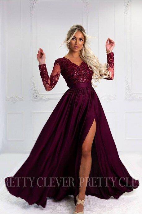 Długa koronkowa sukienka Ophelia - bordo