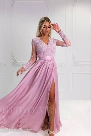 Długa koronkowa sukienka z długim rękawem Ophelia - pudrowy róż