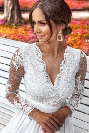Długa koronkowa sukienka z długim rękawem Ophelia - biała