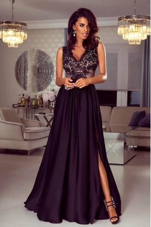 Długa sukienka na wesele z koronkową górą Julia - czarna z beżem