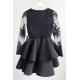 Koronkowa sukienka z piankową spódnicą na wesele Iris - czarna