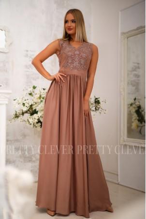 Długa sukienka na wesele z koronkową górą Julia - cappuccino