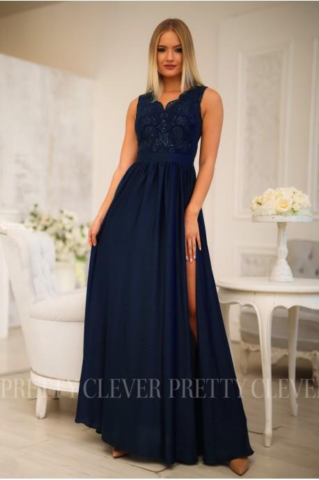 Długa sukienka na wesele z koronkową górą Julia - granatowa