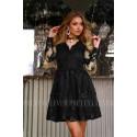 Rozkloszowana koronkowa sukienka z długim rękawem Eva - czarna