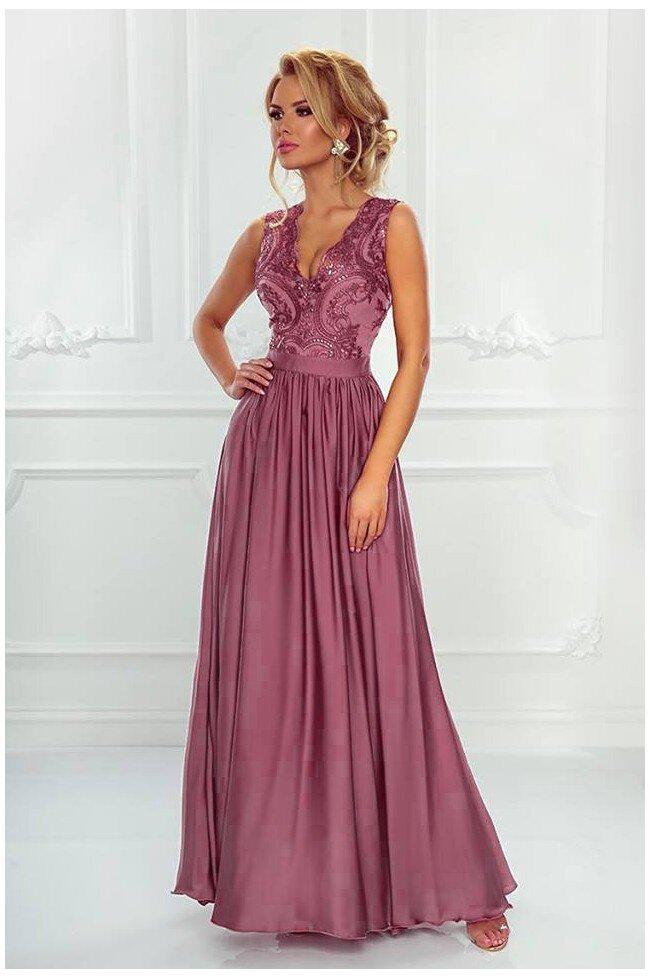 Długa sukienka na wesele z koronkową górą Julia - pustynny róż