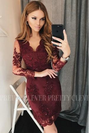 Ołówkowa koronkowa sukienka z długim rękawem Gloria - bordowa