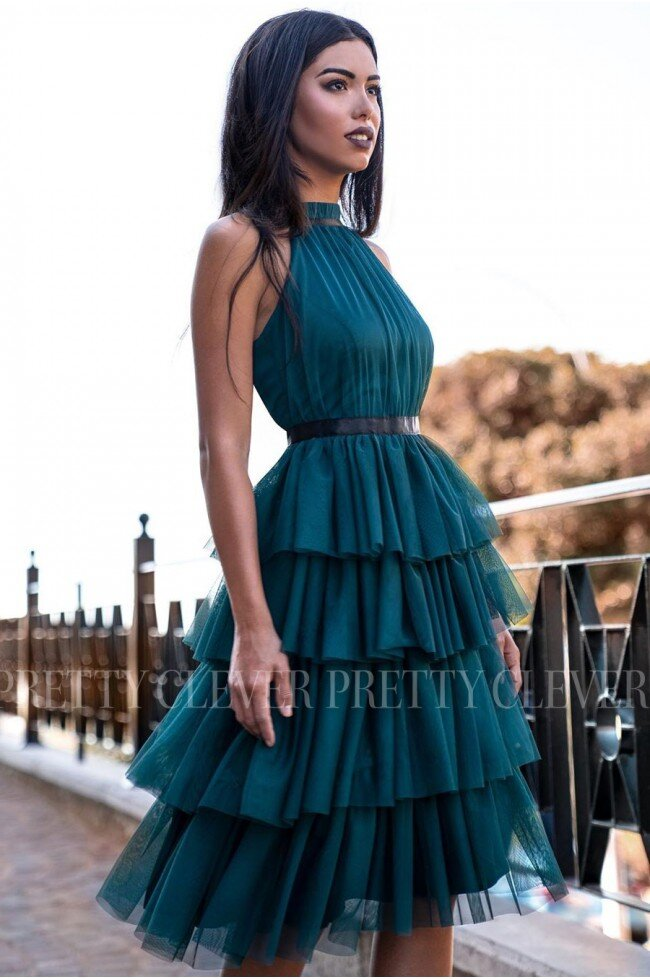 Tiulowa sukienka bez pleców Nicole Midi - butelkowa zieleń