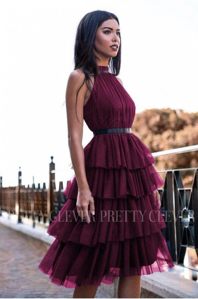 Tiulowa sukienka bez pleców Nicole Midi - bordowa