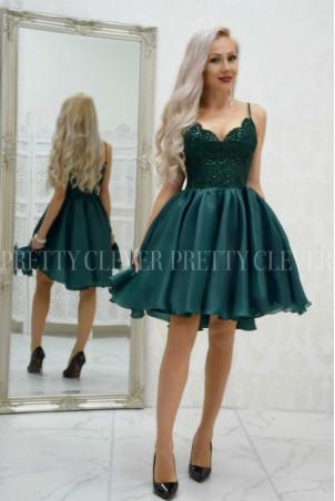 Ekskluzywna sukienka z koronkowym gorsetem Wenus - butelkowa zieleń