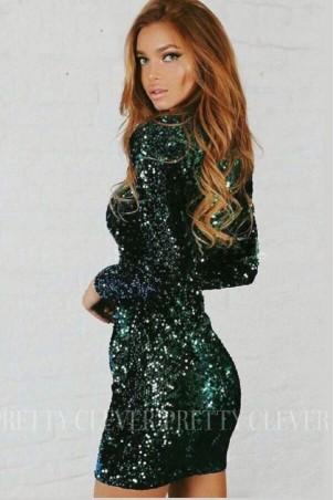 Cekinowa sukienka mini z długim rękawem Star - butelkowa zieleń