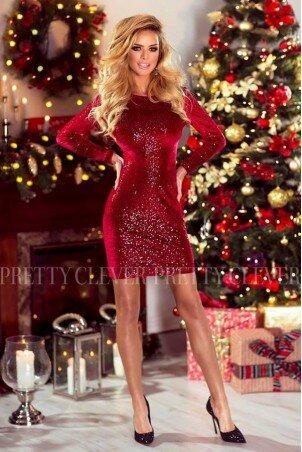 Cekinowa sukienka mini z długim rękawem Star - czerwona
