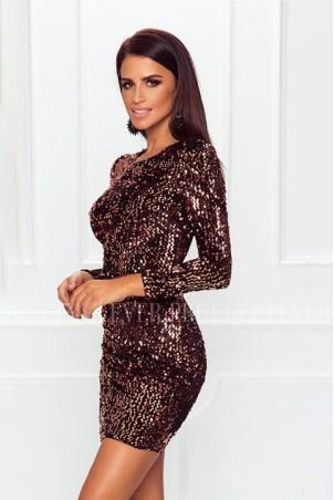 Cekinowa sukienka mini z długim rękawem Star - złota