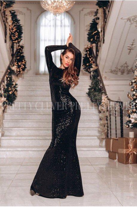 Luksusowa wieczorowa suknia z cekinami Hollywood - czarna
