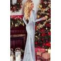 Luksusowa wieczorowa suknia z cekinami Hollywood - srebrna