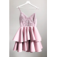 Koronkowa sukienka na wesele z piankową spódnicą Janet - pudrowy róż