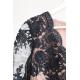 Ołówkowa koronkowa sukienka z długim rękawem Gloria - czarna z beżem