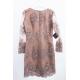 Ołówkowa koronkowa sukienka z długim rękawem Gloria - cappuccino