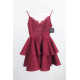 Koronkowa sukienka na wesele z piankową spódnicą Janet - bordowa