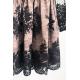 Rozkloszowana koronkowa sukienka z długim rękawem Eva -beżowo-czarna