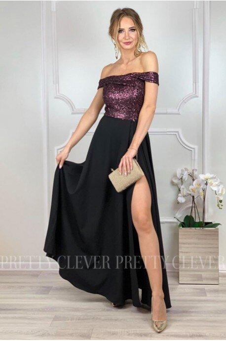 Wieczorowa sukienka maxi z cekinami Ariel - wino