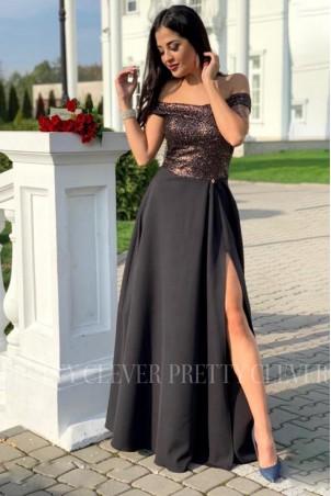Wieczorowa sukienka maxi z cekinami Ariel - złota
