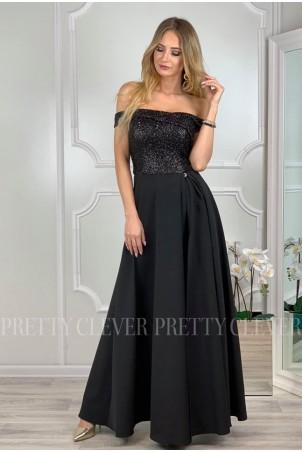 Wieczorowa sukienka maxi z cekinami Ariel - czarna