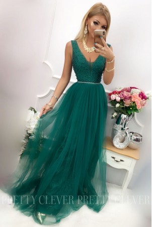 Tiulowa sukienka maxi Elizabeth - zielona