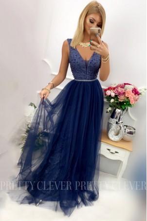 Tiulowa sukienka maxi Elizabeth - granatowa