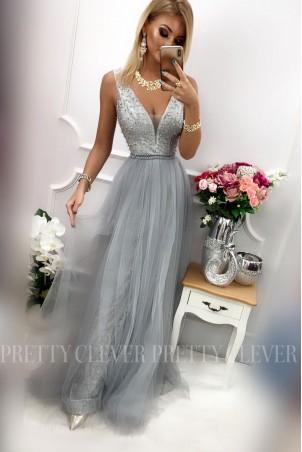 Tiulowa sukienka maxi Elizabeth - srebrna