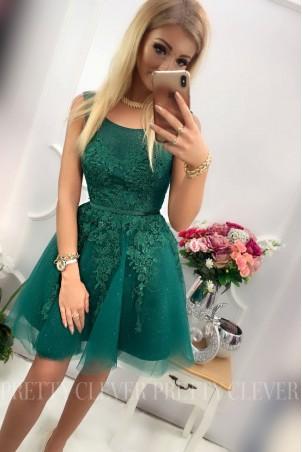Tiulowa sukienka z ozdobną aplikacją Madison - zielona