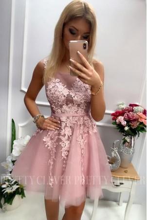 Tiulowa sukienka z ozdobną aplikacją Madison - wrzos