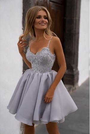 Ekskluzywna sukienka z koronkowym gorsetem Wenus - szara