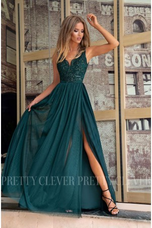 Ekskluzywna tiulowa sukienka maxi Aleksja - butelkowa zieleń