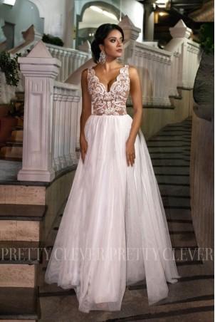 Ekskluzywna tiulowa sukienka maxi Aleksja - biała z beżem