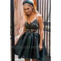 Ekskluzywna sukienka z koronkowym gorsetem Wenus - czarna z beżem