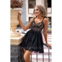 Tiulowa sukienka z falbankami Madeleine - czarna z beżem