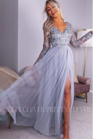 Ekskluzywna tiulowa sukienka maxi Sophie - szara