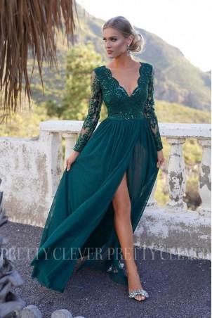 Ekskluzywna tiulowa sukienka maxi Sophie - butelkowa zieleń