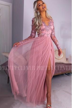 Ekskluzywna tiulowa sukienka maxi Sophie - różowa