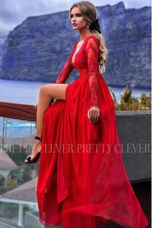 Ekskluzywna tiulowa sukienka maxi Sophie - czerwona