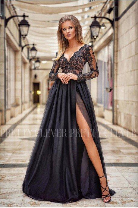 Ekskluzywna tiulowa sukienka maxi Sophie - czarna z beżem II